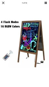"39"" Double-side Neon Led Lighted Chalkboard Blackboard Message Menu Board+Remote"