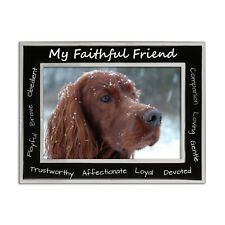 "Dog Photo Frame, ""My Faithful Friend"", Silver Plated, Matt Black 4 x 6 Inch"
