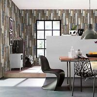 NEW RASCH WOOD BOARD PANEL EMBOSSED TEXTURED WALLPAPER NATURAL / BLUE 203707