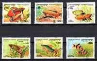 Peces Camboya (43) serie completo de 6 sellos matasellados