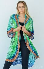 Silk Satin Cape with Embellishment, resort wear kaftan style kimono cape
