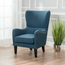 Salerno Dark Blue Fabric high back Wing Chair WingBack ArmChair