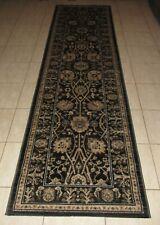 NEW BLACK TRADITIONAL PERSIAN DESIGN FLOOR HALL HALLWAY RUNNER RUG 80X300CM
