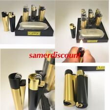 New! 100% Authentic Clipper Black & Gold Refillable Metal Lighter w gift box