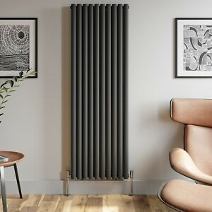 Anthracite Designer Radiator Vertical Oval Column Double Panel Rad 1800x600mm