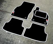 Black/White Car Mats - Seat Leon Cupra (5F / 2012 on) + New Cupra Flag Logos