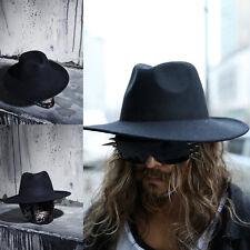 ByTheR Men's Urban Chic Fashion Noir Wool Felt hat Black Fedora Woolen Hat UK N