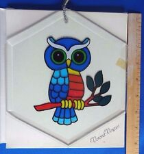Vintage Painted Sun Catcher *Hexagonal* OWL * Beveled Glass  by: Verona Vergasi
