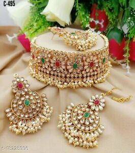 Indian Bridal Gold Pearl Stone Choker Necklace Gold Plated Bollywood Jewelry Set