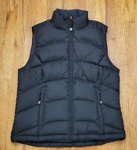 LL Bean Women's Black Down Zip Front Puffer Vest S EUC OFJT1
