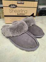NEW Kirkland Signature Women's Slippers Gray Shearling Sheepskin - Pick Size