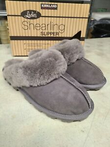 NEW Kirkland Signature Women's Slippers Gray Shearling Sheepskin - Pick Size