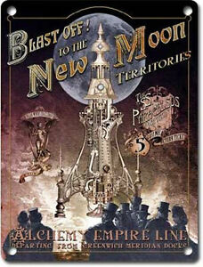 Blast off! New Moon Rocket Steampunk Gothic Alchemy Empire Medium Metal Tin Sign