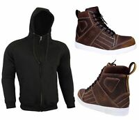 Armoured Hoodie Motorcycle Hoody Waterproof Motorbike Real Leather Shoes Boots