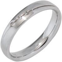 Partner Ring Damenring mit 3 Zirkonia weiß, 925 Silber Silberring teilmattiert