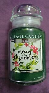 Village Candle Limited Edition Merry Christmas Large Jar Candle Holiday 26 oz