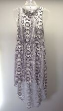 DIVIDED H&M~ White Gray Semi Sheer Sleeveless High Low Lace Back Inset Dress M