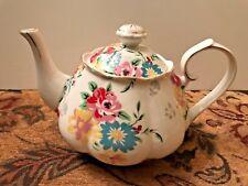Grace's Teaware White Teapot w/Gold Trim & Flowers
