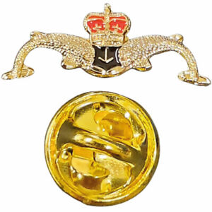 Small Royal Submariners Double Dolphin Lapel Pin Badge Gift Pouch FREE Delivery!