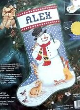 "Janlynn Christmas Stocking SNOWMAN Cross Stitch Kit  17"" 1998"