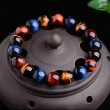 100% Natural Gemstone Tigers Eye Stone Beads Women Men's Bracelet Bangle Jewelry