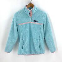 Lauren James Preptec Women's Pullover Fleece Jacket Fuzzy Sherpa Size XS Blue D1