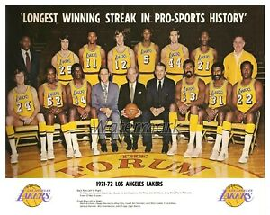 NBA 1971 - 72 Los Angeles Lakers Color  Team Picture with Names 8 X 10  Photo