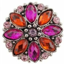 Silver Pink Rhinestone Flower 20mm Snap Charm Jewelry for Ginger Snaps