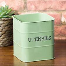 Retro Vintage Enamel Sage Green Kitchen Utensil Storage Pot Holder Rack Caddy
