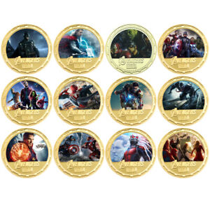 12pcs Marvel Super Hero Gold Coin Metal Challenge Coins with Plastic Shell