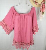 New Women's Spring Pink Crochet Boho Peasant Top Blouse Tunic 3X NWT