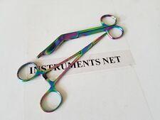 "Multi Titanium Rainbow Color Lister Bandage Scissors 5.5"" + Straight Hemostat"