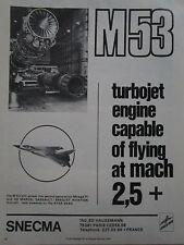 4/1975 PUB SNECMA TURBOJET ENGINE M53 DASSAULT MIRAGE F1 G8 SUPER MIRAGE ACF AD
