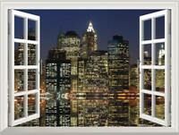 3D Window View New York City Wall Decal Sticker Mural Home Decor Bedroom Mural
