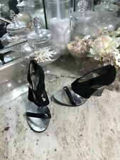 Michael Michael Kors Silver Black Leather Gladiator Sandal Shoe 9.5 9 1/2