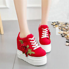 Womens Cotton Shoes Lace Up Embroidery Sneakers Platform Wedge High Heel Canvas