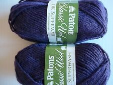 Patons Classic DK Superwash 100% wool yarn, Eggplant, lot of 2 (125 yds each)