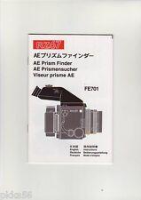 MAMIYA RZ AE PRISM FINDER FE701 INSTRUCTION (ORIGINAL PRINT JAPAN/not copies)