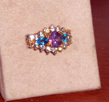 New Sterling Silver .925 Gold Plated Amethyst Aquamarine Ladies Cocktail Ring 8