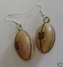 Wooden rugby ball earrings