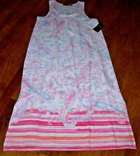 NWT Ralph Lauren White/Pink/Aqua PAISLEY Woven Cotton Long Nightgown S $68 SOFT