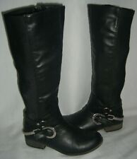 Betseyville By Betsey Johnson Tall Black Moto Boots Stretch Motorcycle Biker 6