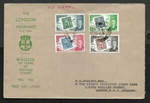 BARBADOS, 1952 100YRS OF STAMPS, ON LONDON ASSURANCE FDC.