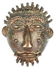 Art Africain - Ancien Masque Passeport en Bronze Baoulé - African Mask - 5,8 Cms