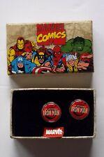 Marvel Iron Man Stainless Steel & Enamel Cufflinks - NOS