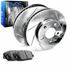 For Infiniti, Nissan G35, 350Z, M35, M45 Rear  Slotted Brake Rotors+Ceramic Pads