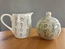 Ikea pretty sugar bowl and jug/creamer green on white. Enigt pattern