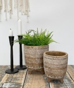 Rustic Terracotta Plant Flower Pot on Legs Herb Planter Outdoor Garden Stoneware