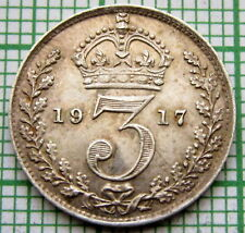 GREAT BRITAIN GEORGE V 1917 THREEPENCE 3 PENCE, 0.925 SILVER HIGH GRADE