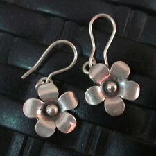 Fine Silver Earrings Hill Tribe Karen Argento Orecchini Flower Petunia Jewellery